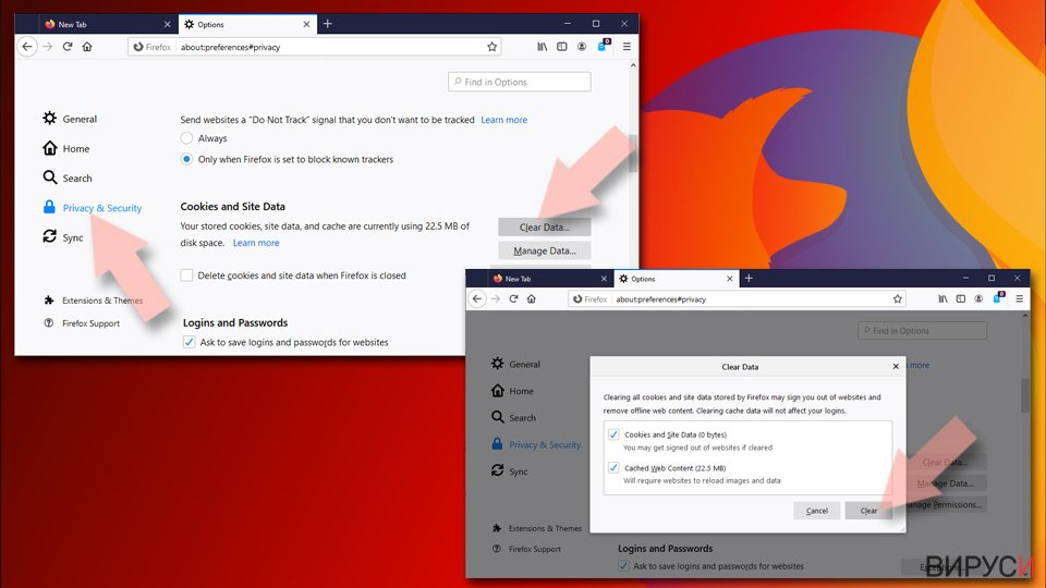 Нулиране на настройките на Mozilla Firefox