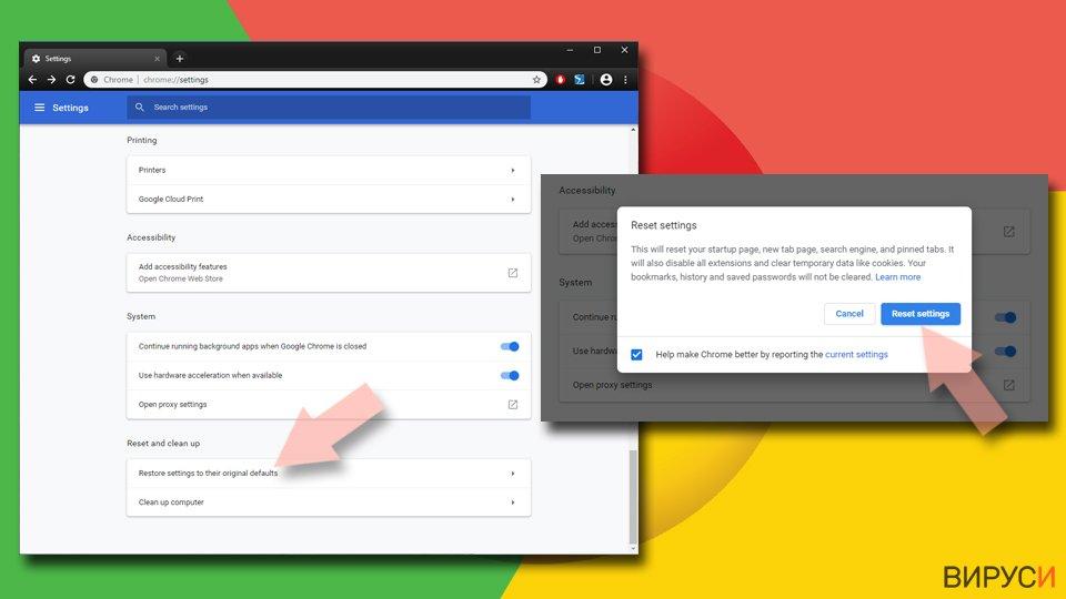Нулиране на настройките на Google Chrome
