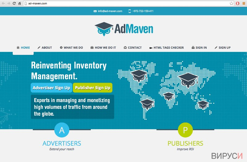 A screenshot of the official Ad-Maven website