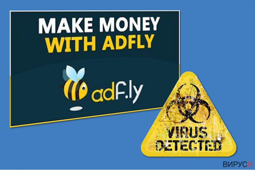 Екранна снимка на Вирусът Adf.ly