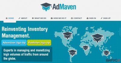 Скрийншот на уебсайта на Admaven