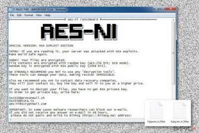 Рансъмуерната бележка от вируса с файлово разширение .Aes_ni_0day