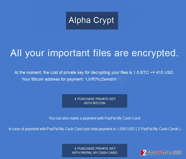 Екранна снимка на Вирусът Alpha Crypt