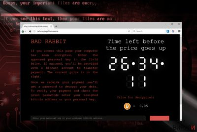 Моментна снимка (скрийншот) на сайта за разплащане на BadRabbit