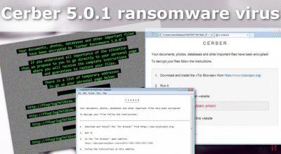 Изображение на рансъмуер вируса Cerber 5.0.1