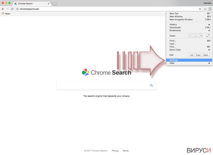 Екранна снимка на Вирусът Chromesearch.win