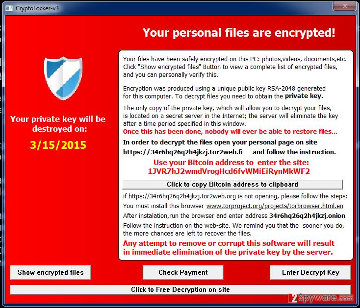 Екранна снимка на Вирусът Cryptolocker-v3