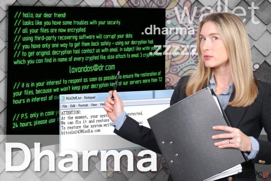 Екранна снимка на Рансъмуер вирусът Dharma