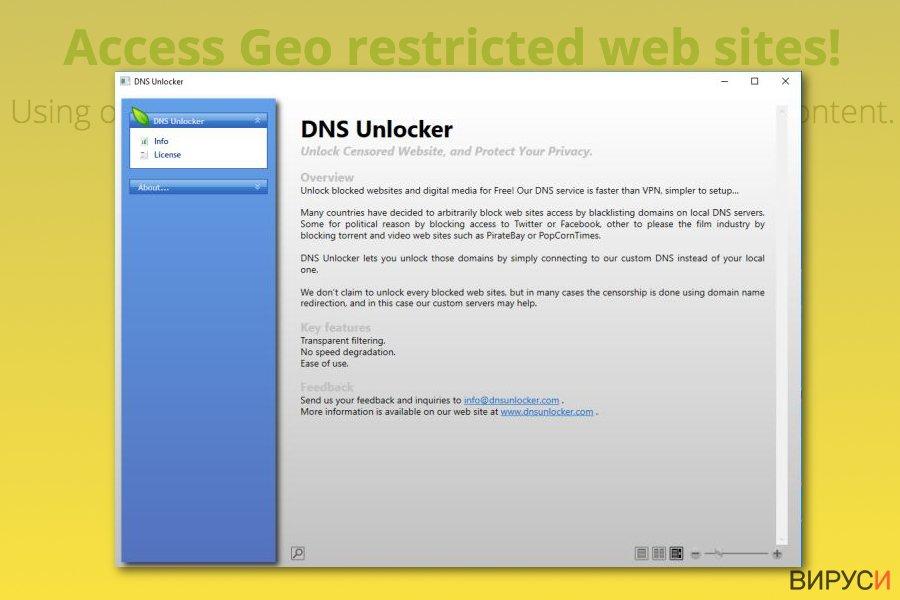 Екранна снимка на Вирусът DNS Unlocker