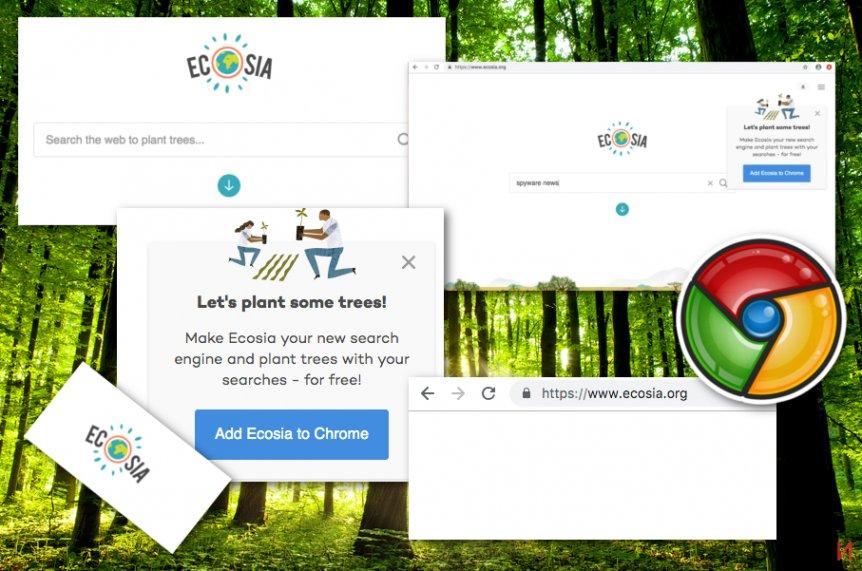 Екранна снимка на Вирусът Ecosia.org