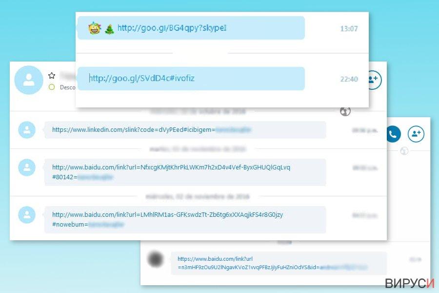 Примери за Skype вируса