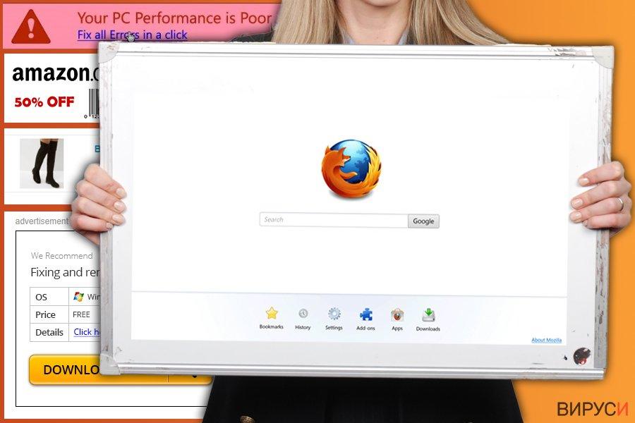 Екранна снимка на Firefox-пренасочващ вирус
