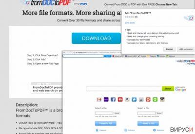 Моментно изображение (скрийшот) на лентата с инструменти From Doc to PDF