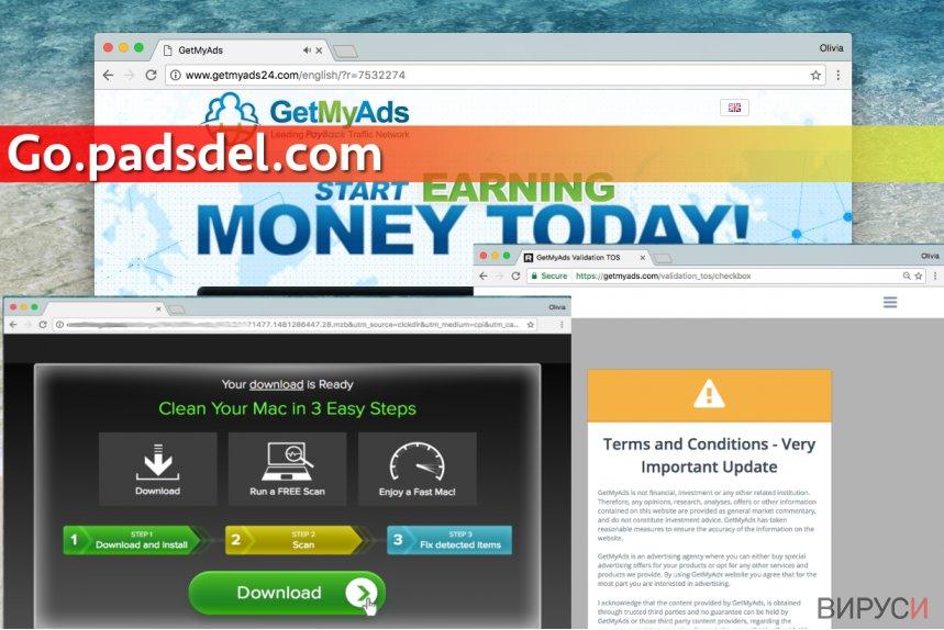 Екранна снимка на Вирусът Go.padsdel.com