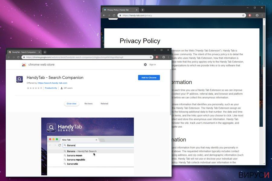 Екранна снимка на Вирусът Handy-Tab.com