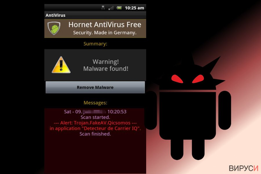 Екранна снимка на вирусът Android