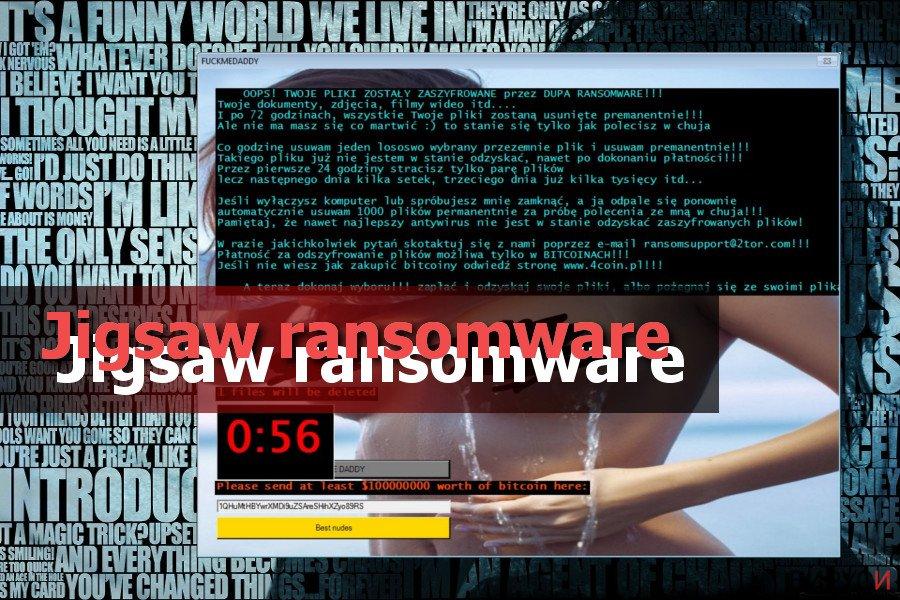 Екранна снимка на Рансъмуерният вирус Jigsaw