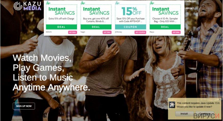 Изглед от официалната уеб страница на Kazu Media и рекламите
