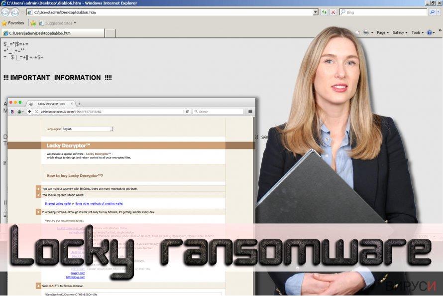 Екранна снимка на рансъмуер вируса Locky