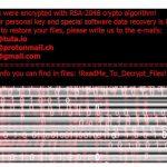 Екранна снимка на Рансъмуер вирусът Matrix