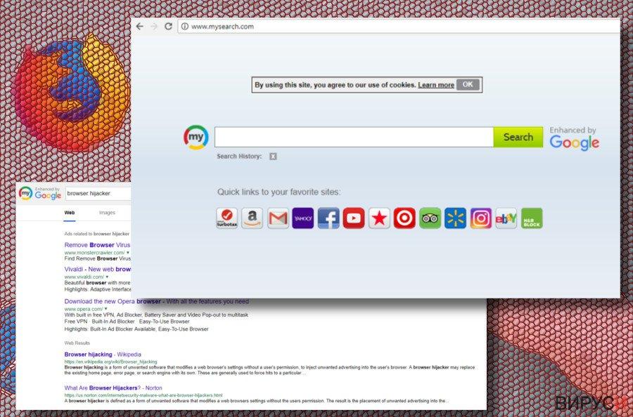 Екранна снимка на браузър-похитителя Mysearch