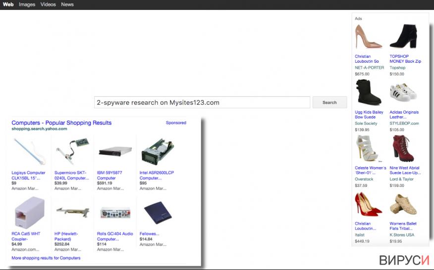 Mysites123.com hijacker website snapshot