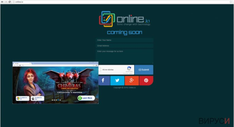 The picture showing online.io virus