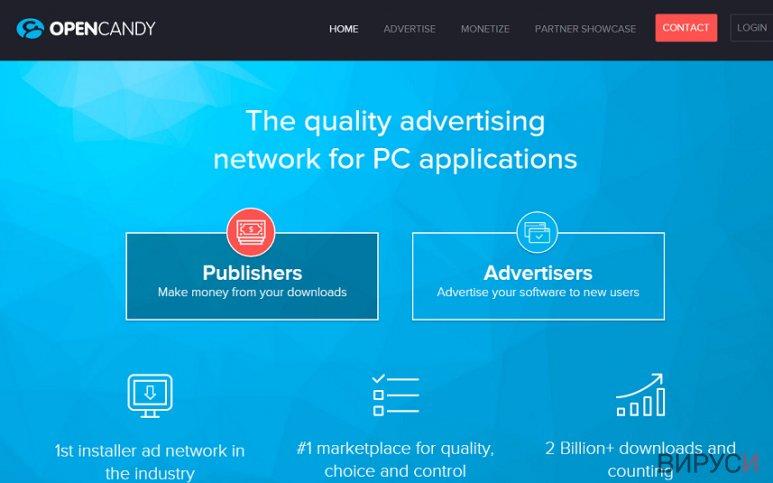 Екранна снимка на Реклами от OpenCandy