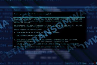 Изображение на съобщението за откуп на Petna