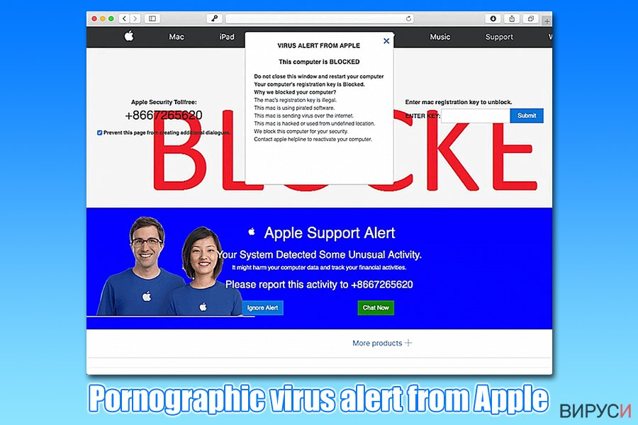Pornographic virus alert from Apple