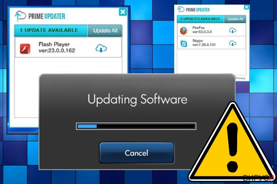 Екранна снимка на Вирусът Prime Updater