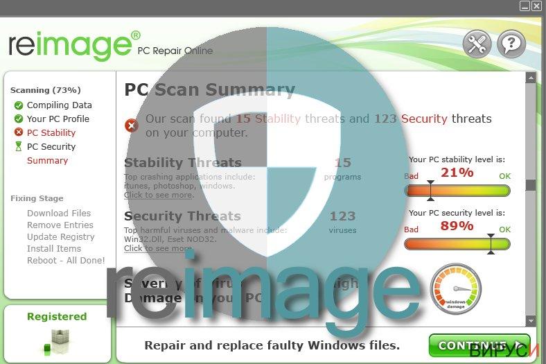 Екранна снимка на Вирусът Reimage
