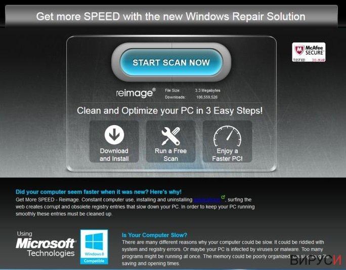 Екранна снимка на Реклами от ReimagePlus.com