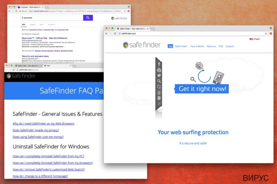 Екранна снимка на вирусът Safe Finder