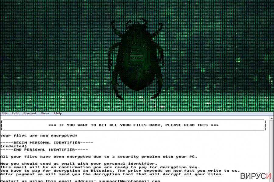 Екранна снимка на Рансъмуер вирусът Scarab