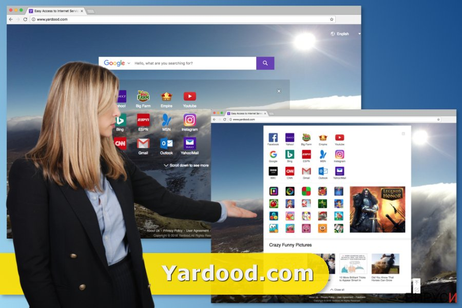 Екранна снимка на Вирусът Yardood.com
