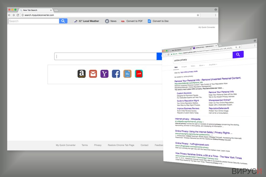The example of Search.myquickconverter.com search engine