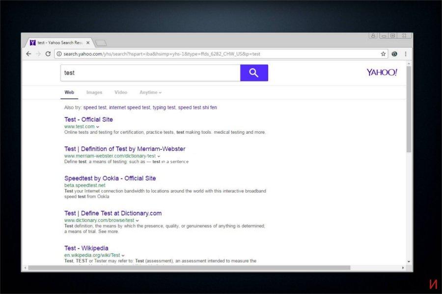Екранна снимка на пренасочване на search.yahoo.com