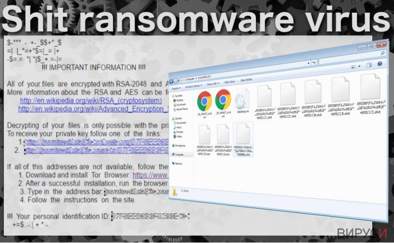Екранна снимка на Рансъмуер вируса .Shit