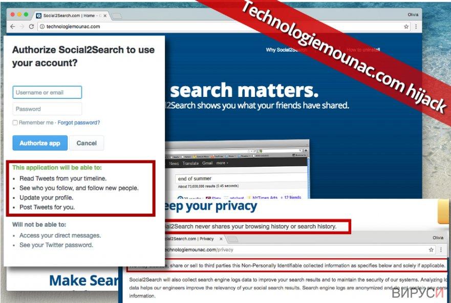 Technologiemounac.com virus is highly untrustworthy program