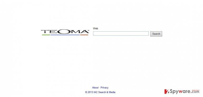 Екранна снимка на Teoma Web Search