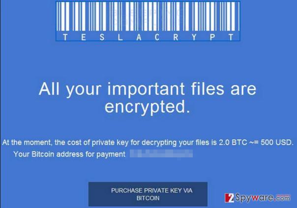 Екранна снимка на TeslaCrypt 2.0