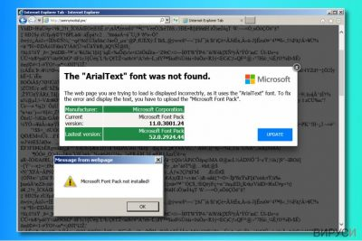 """Рекламите """"The ArialText font was not found"""""""