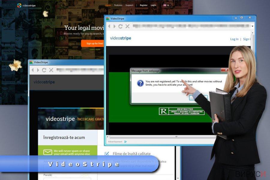 Пример за изскачащите реклами на VideoStripe