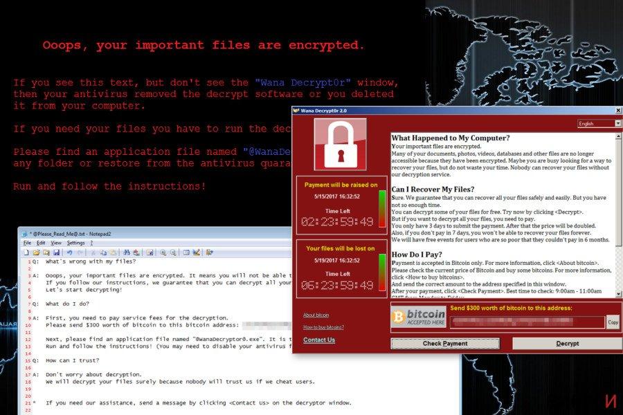 Екранна снимка на Рансъмуерният вирус Wana Decrypt0r
