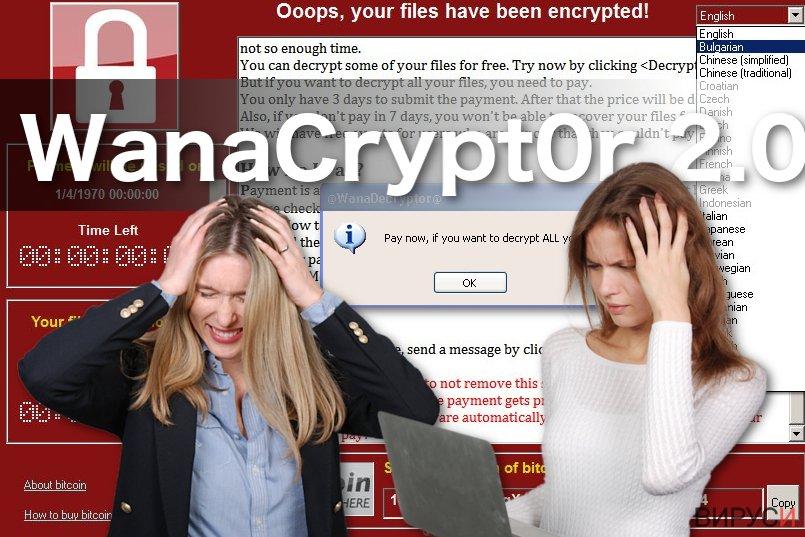 Изображение на рансъмуерния вирус WanaCrypt0r 2.0