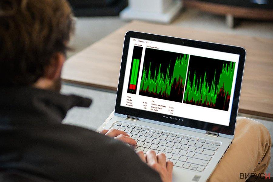Изображение, показващо използването на ресурсите на процесора от Win32.CoinMiner