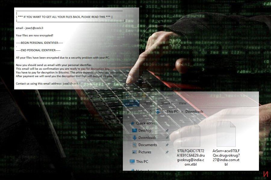 Екранна снимка на Вирусът .xtbl
