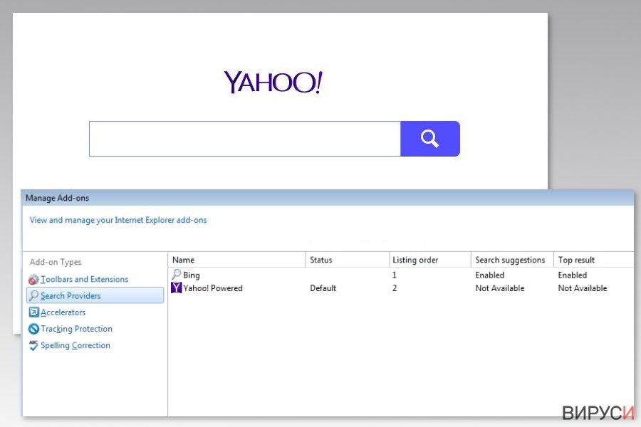 Изображение на вируса Yahoo Powered